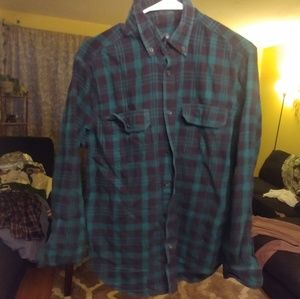 Green/Black Flannel Button Up